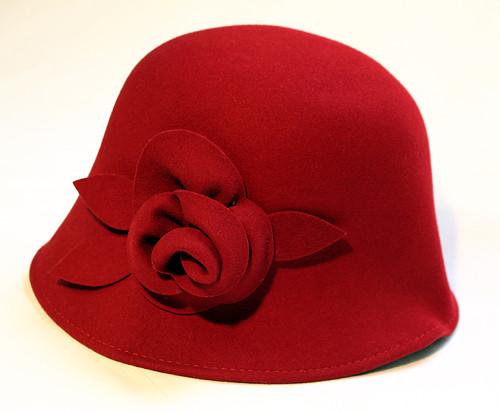 Vintage filcový klobouk tm. červený podzimní,zimní