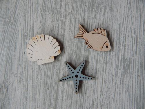 Dřevěné dekorace mořské 25 kusů