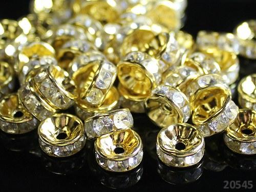 20545 Rondelky 8mm zlaté /čiré kamínky,bal.10ks