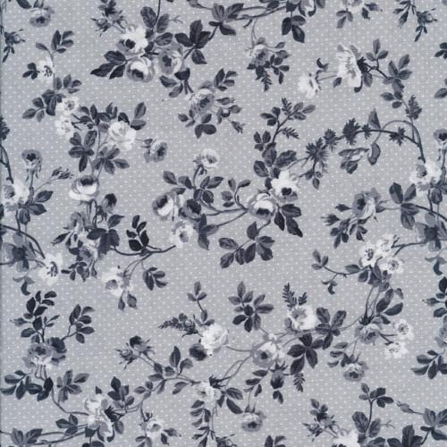 Látka Beacon Hall černé střední květy na šedé
