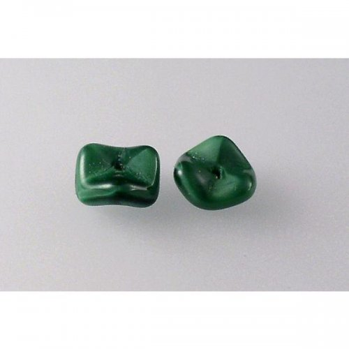 Mačkané korálky zelené hedvábí 6x10 10ks