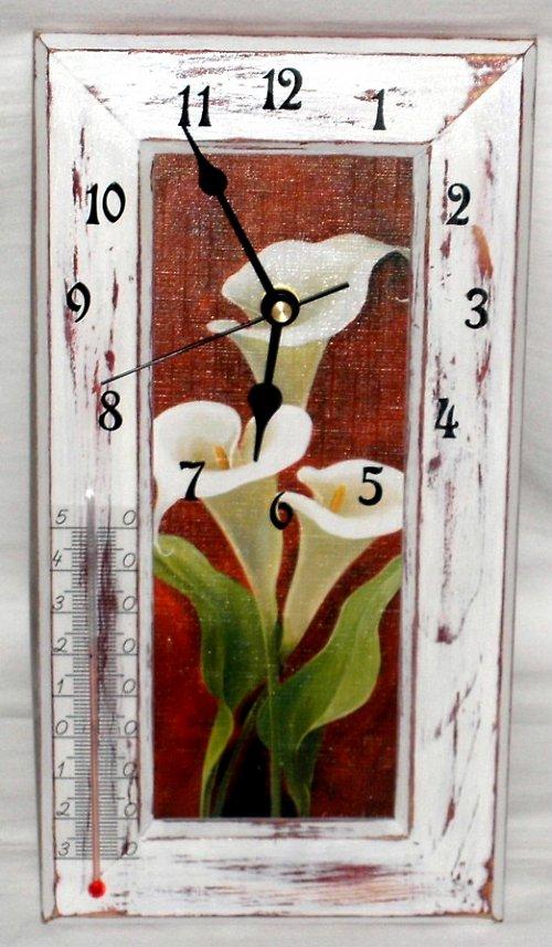 Bílá kala  - hodiny, teploměr, obrázek 3v1
