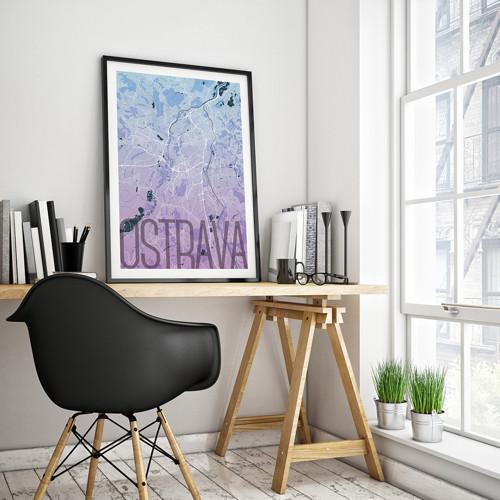 OSTRAVA, 50x70cm, elegantní, modro-fialová