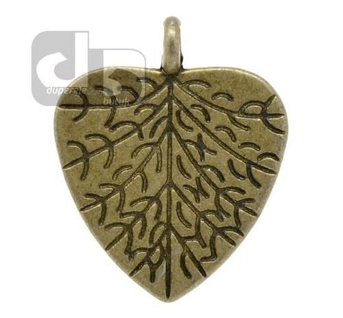 Bronzový přívěšek listu ve tvaru srdce 2 ks