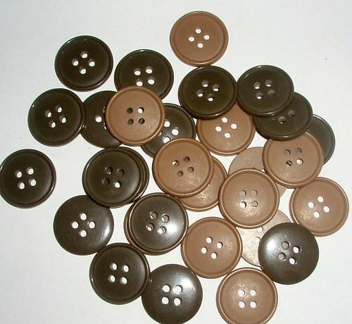 Velký plochý knoflík - 20 mm  /5 ks/