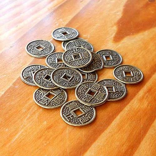 Čínská Mince Štěstí 10mm - 2ks - Bronzová