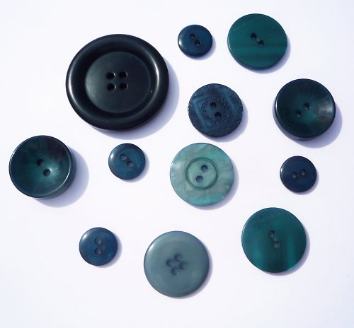 Sada modrozelených knoflíků (12 ks)