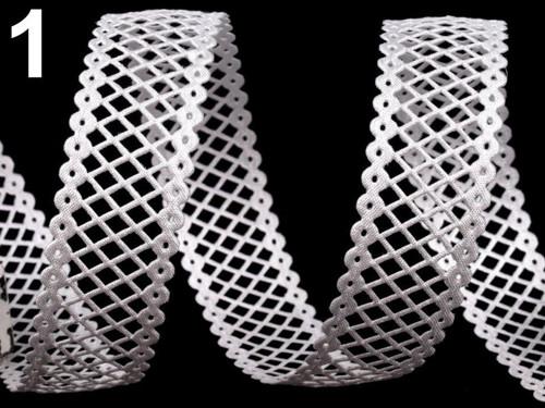 Saténový prýmek vysekávaný š.22mm (1m) - bílá