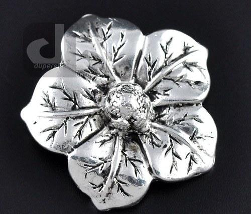 Stříbrný přívěšek květu 3,5 cm na hrubý řetízek