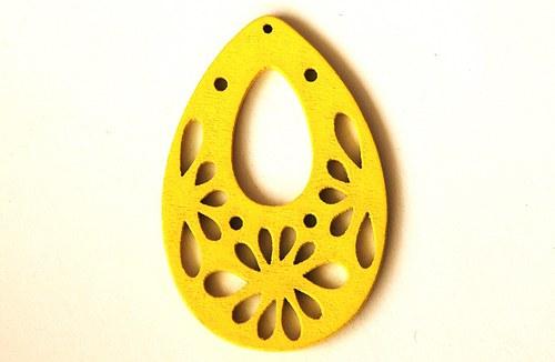 Dřevěné kapky- žluté