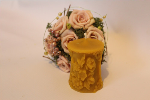 ZDOBENÁ SVÍČKA MALÁ svíčka ze včelího vosku