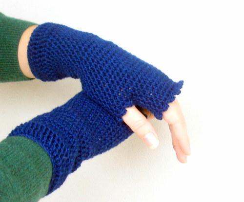 Navy merino - rukavičky bezprsté...