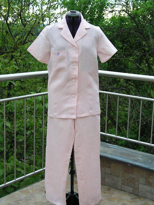 Lněné pyžamo - domácí komplet ze 100% lnu