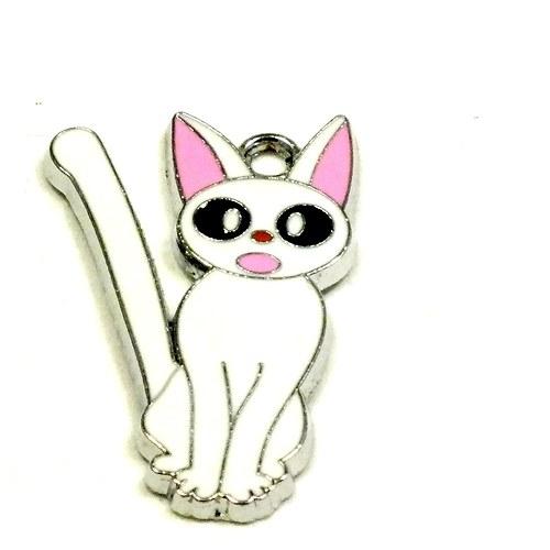 Přívěsek - vylekaná kočka , bílá, 1 ks