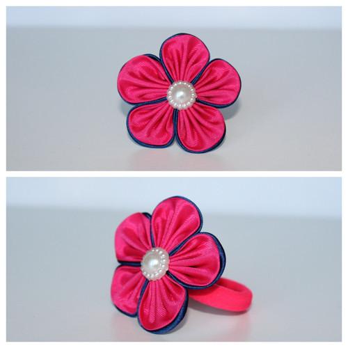Gumička do vlasů - růžovomodrý květ