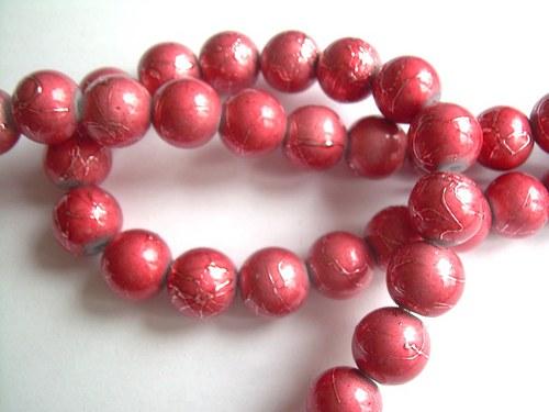 Korálky Ø10mm metalízované růžovo-červené - 10 ks