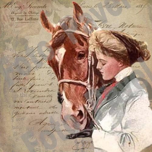 Vintage motiv - dívka s koněm 1