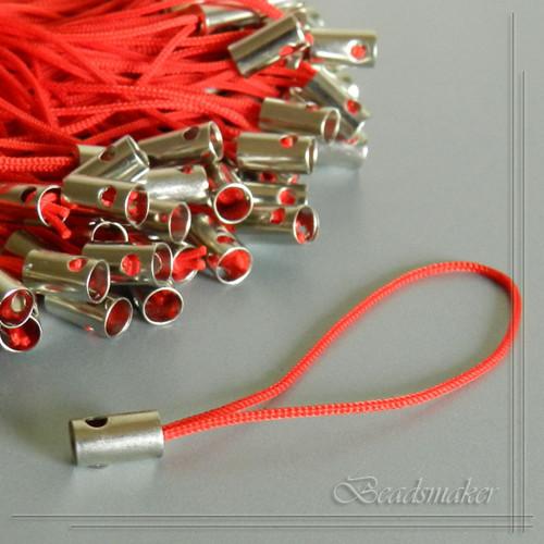 Šňůrka na mobilní telefon - červená - 10 ks