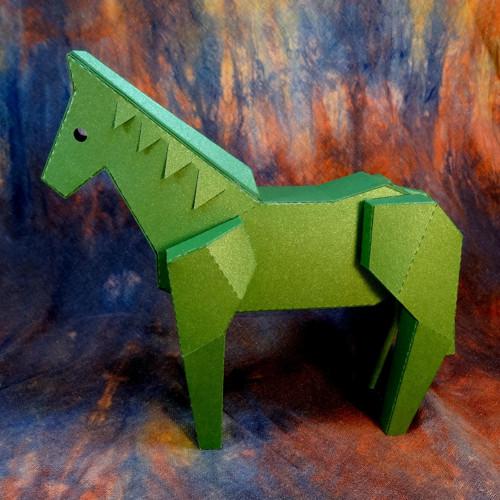 Koník třpytivě zelený - dekorace