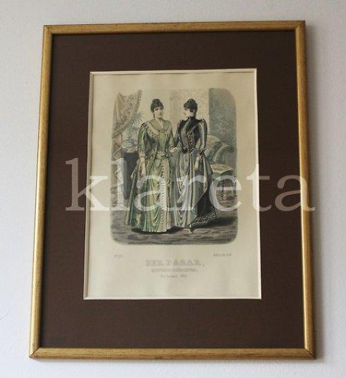 originální módní litografie z roku 1889 v rámu
