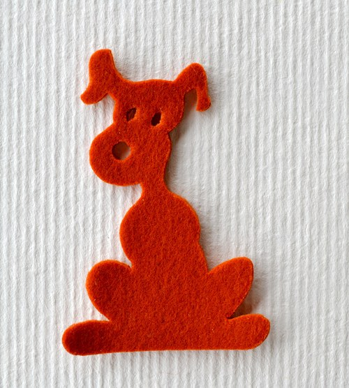 Výsek z plsti -  pes rezavý