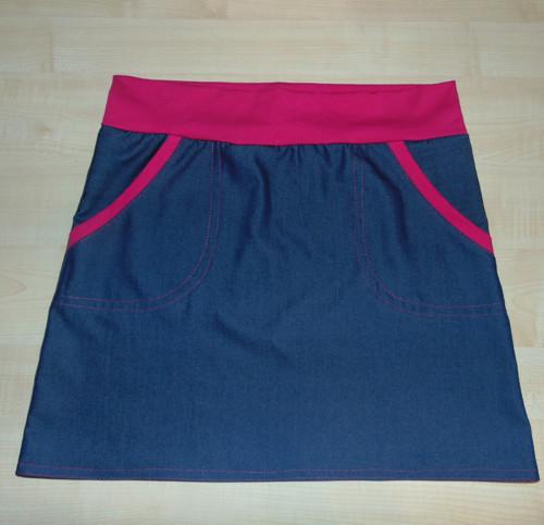 riflová sukně dámská s růžovou