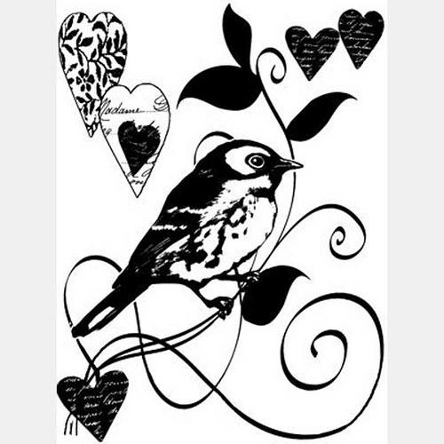 Ptáček a srdíčka