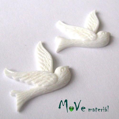Kabošon ptáček - resin - 2ks, bílý