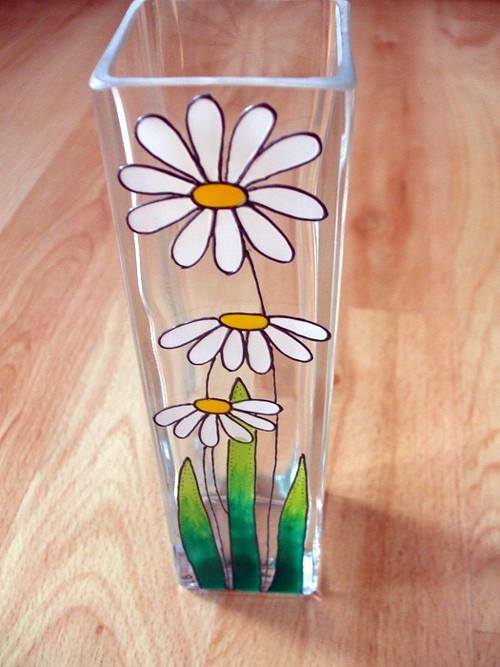Skleněná váza - kopretiny