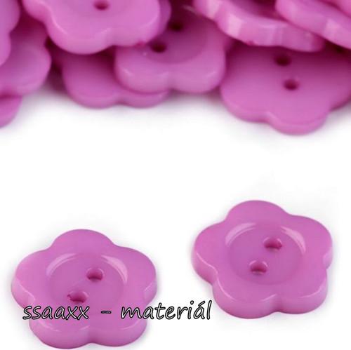 Plastový knoflík ~ květ ~ 14 mm ~ 2 ks ~ fialový