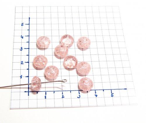 Práskané, růžové korálky, 9 mm, 15 ks, placička