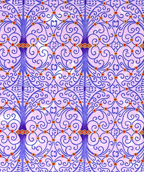 Handmade papír - Fialové spirály