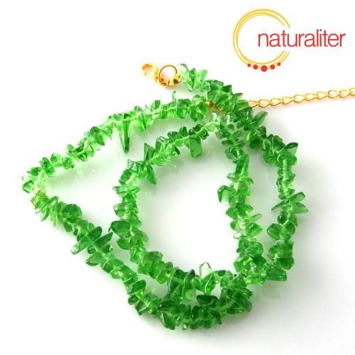 Smaragd, syntetický zlomky, návlek 40cm náhrdelník
