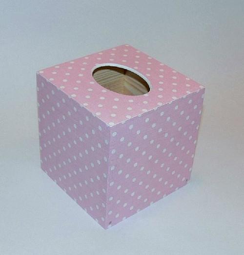 Krabička na kapesníčky - růžová s puntíkama