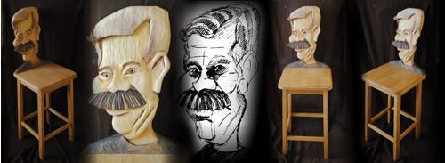 Barovka Karikaturní židle dubová dle Vaši předlohy