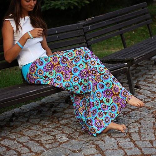 Dlouhá sukně Modré gerbery (možno i těhu)