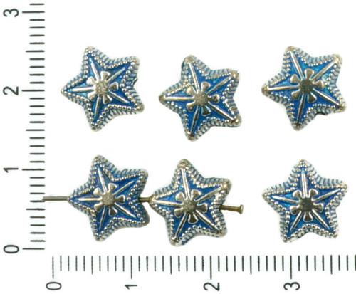 8ks Starožitné Stříbro Tón Modrý Patina Umýt Hvězd