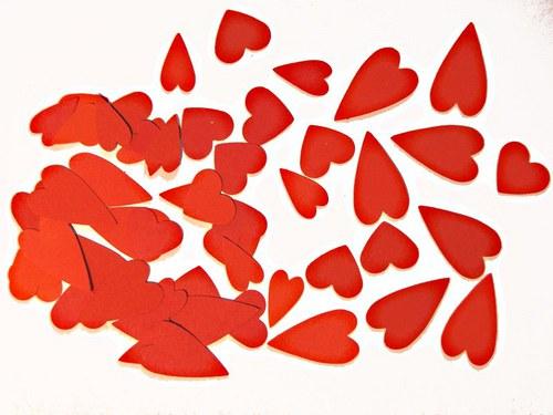 Srdíčka červený mix - 50 ks - barvy podle přání