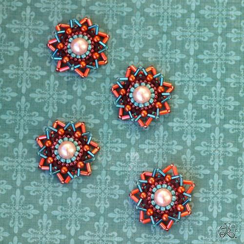 Vánoční ozdoby malé oranžovo modré
