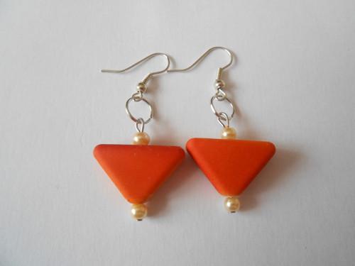 Náušnice - oranžová geometrie