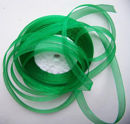 stuha šifonová / 10mm / zelená /   3m