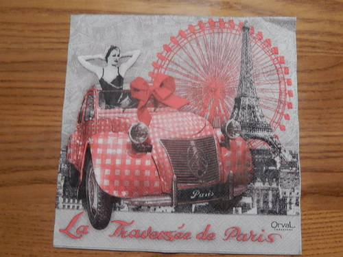 Ubrousek na decoupage - napříč Paříží