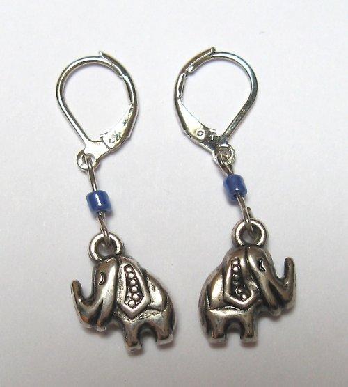 Sloni ve fialové  - náušnice