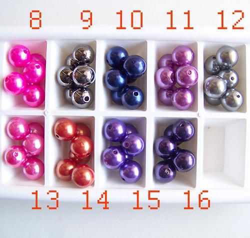 perly voskové/ fialovo-růžová č. 8/ 15mm/ 4ks