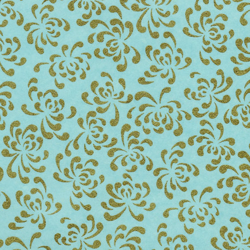Handmade papír - Zlaté chryzantémy / modrá