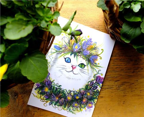 Kočička jarní s věnečkem - pohlednice/přání