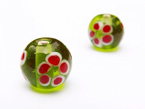 Zelená kulička s červenou kytičkou ((V25))