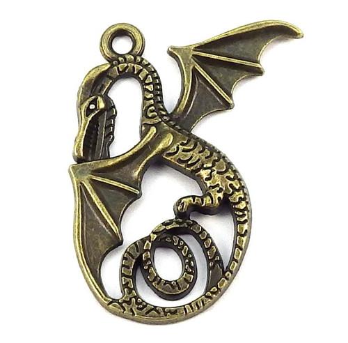 Velký starobronzový přívěsek - drak