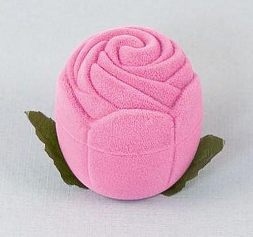 Sametová krabička na šperky - růžová růže