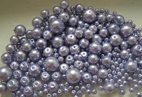 Voskované perly fialový sv. MIX Ø4-10mm 50g skl.
